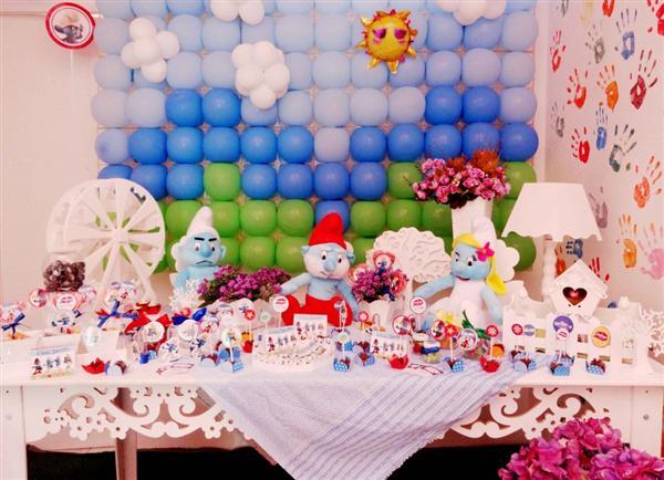 mesa de aniversario dos smurfs