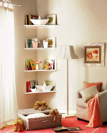 Como decorar quarto infantil com prateleiras for Decorar esquinas salon