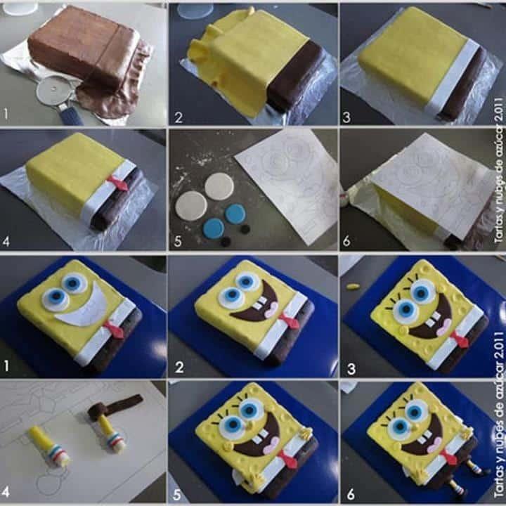 Cake Designs Step By Step : Espaco Infantil   4 Modelos de Bob Esponja passo a passo