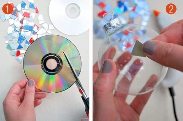 Armario Oficina Puerta Persiana ~ Espaço Infantil u2013 Artesanato de Natal Feito com CD Velho