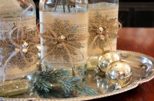 Este sofisticado artesanato de Natal com garrafas de vidro vai deixar a sua casa mais bonita (Foto: sweetsomethingdesign.blogspot.com.br)