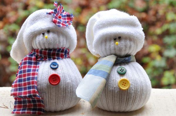 Bonecos de Neve Feito de Meia