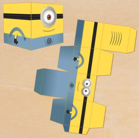 Molde de caixinha dos minions para imprimir for Minion overall template