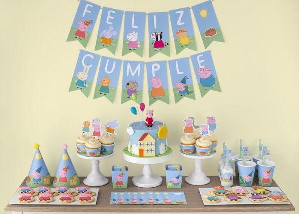 A decoração de festa infantil Peppa e George pode ser usada por ambos os sexos (Foto: karaspartyideas.com)
