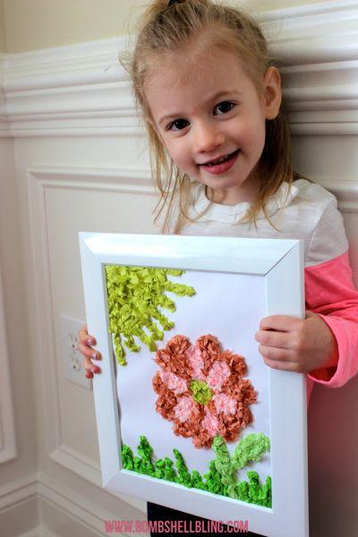 Este simpático quadro infantil com papel pode ter o desenho que você quiser (Foto: bombshellbling.com)