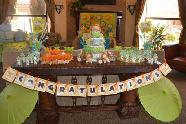 decoracao festa safari:Decoração de festa infantil tema safári baby é fofa e agrada a