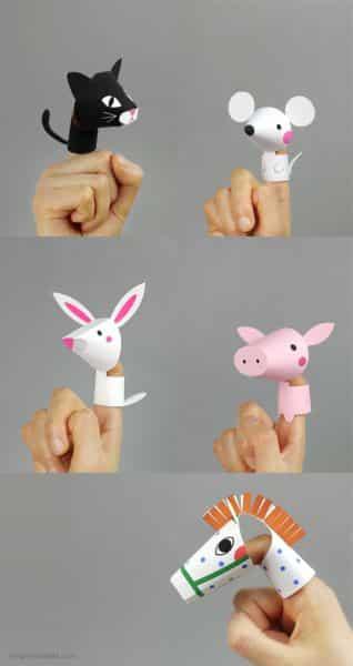 Estes dedoches de bichinhos são divertidos e estimulam a criatividade dos pequenos (Foto: mrprintables.com)
