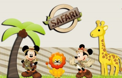 Moldes para Festa Infantil Mickey e Minnie Safari Grátis