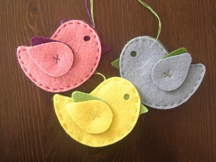 moldes de passarinhos de feltro