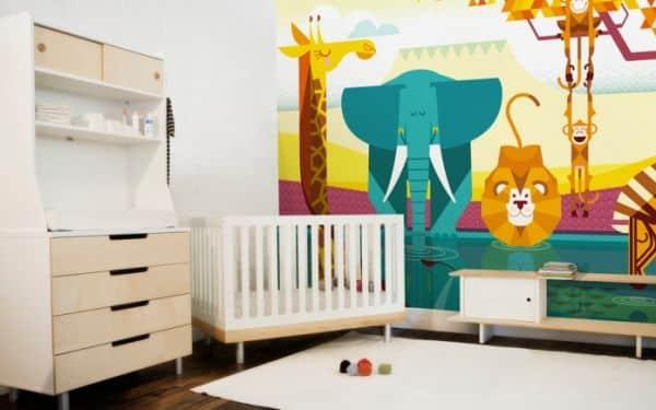 A decoração infantil safári baby é ótima alternativa pra quem quer fugir do lugar-comum no momento de escolher o décor do quarto do bebê (Foto: e-glue.fr)