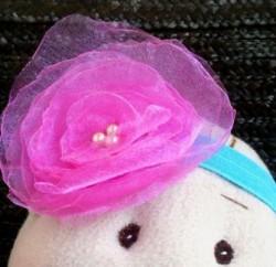 Headband Infantil com Rosa de Organza