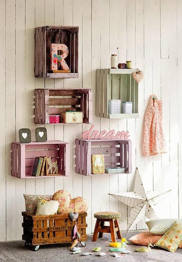 Decora o infantil com caixotes de feira - Decorar paredes con palets ...