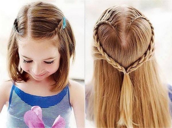 penteado com trança infantil coração