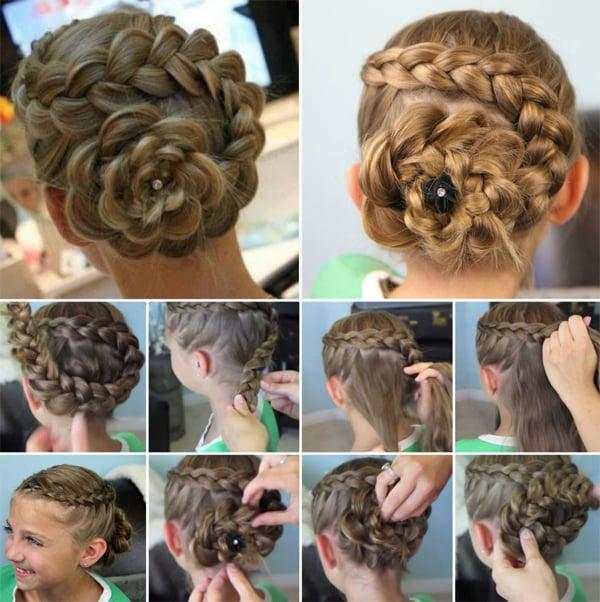 penteado com trança infantil com flor de cabelo