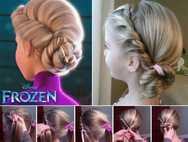 penteado com trança infantil frozen