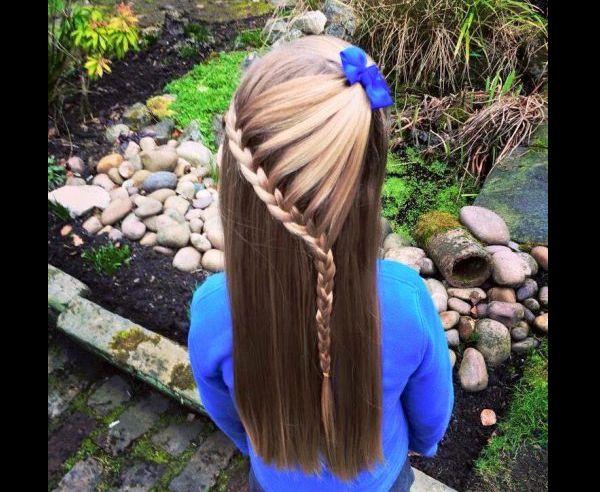 penteado com trança infantil com enfeite