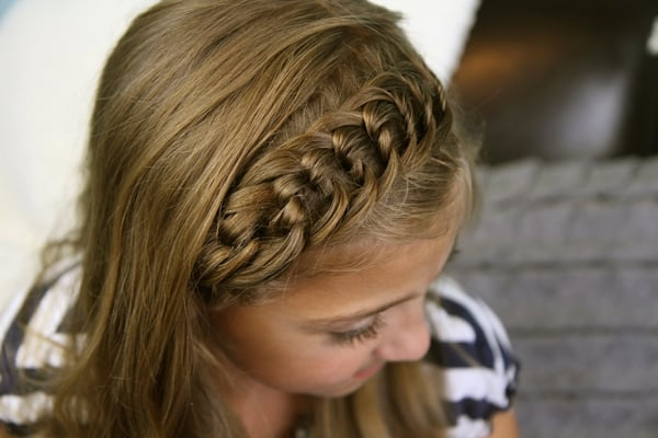 penteado com trança infantil tiara