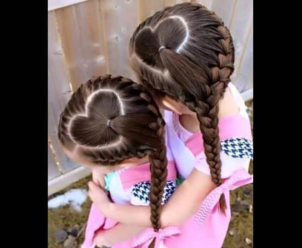 penteado com trança infantil corações