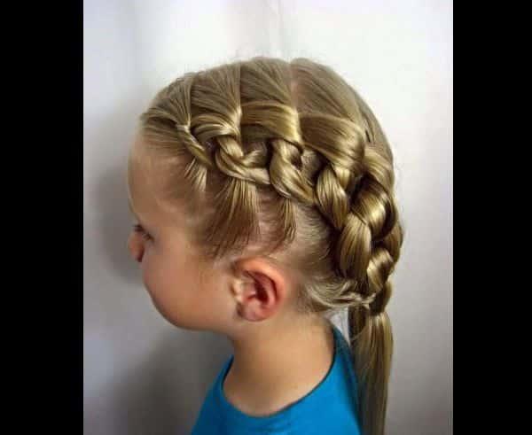 penteado com trança infantil rabo