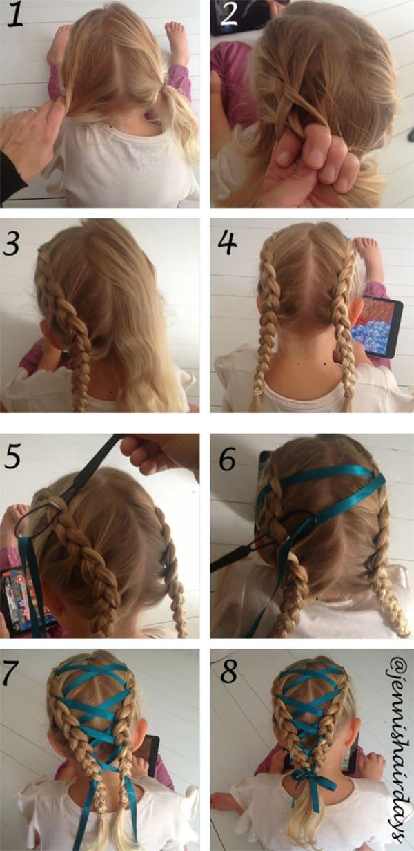 tutorial penteado com trança infantil