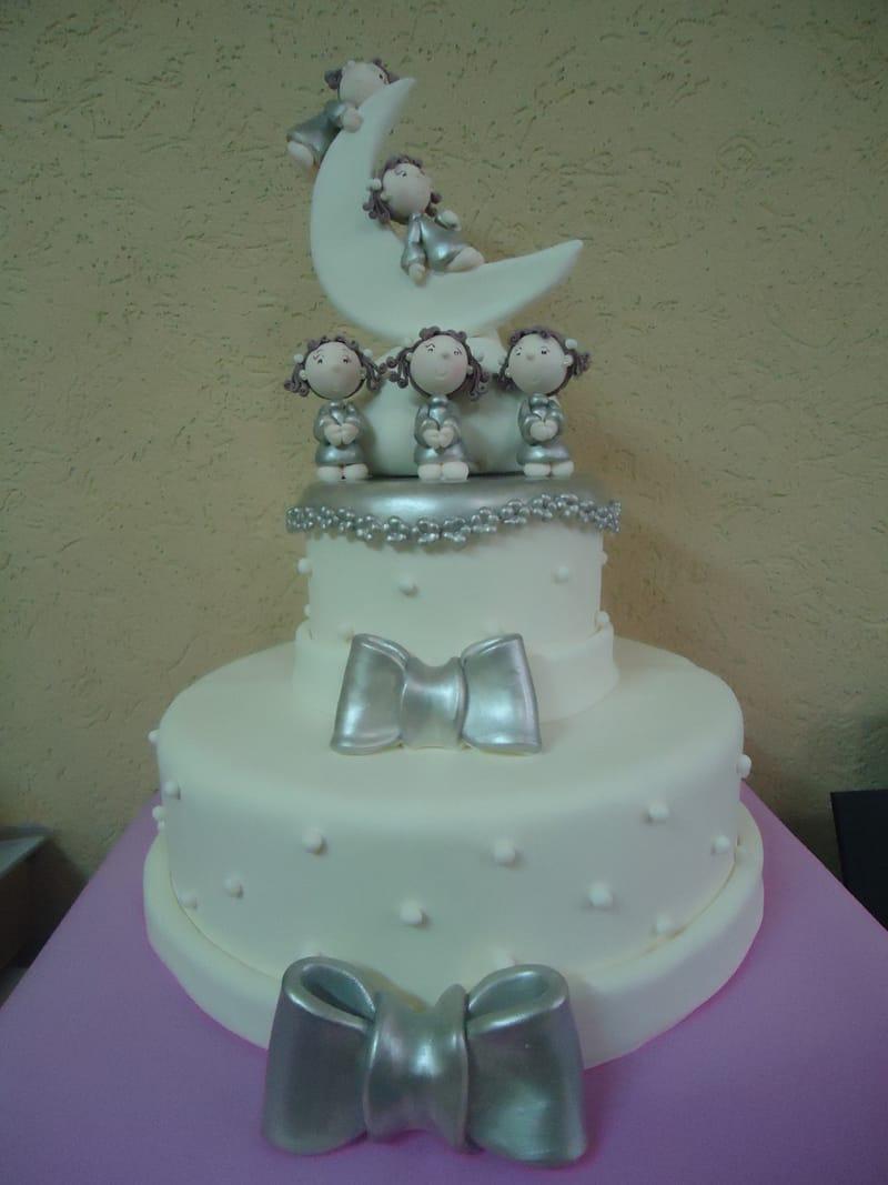 bolo para batizado prata