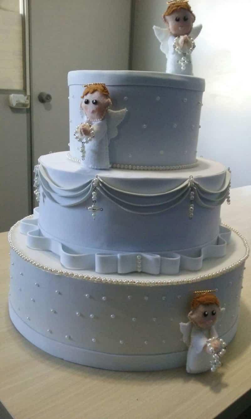 bolo para batizado com anjos