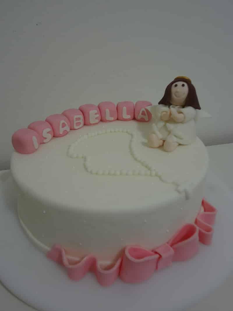 bolo para batizado rosa