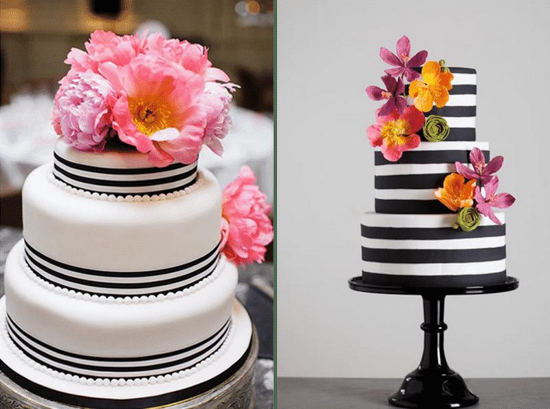 bolo preto branco com floral