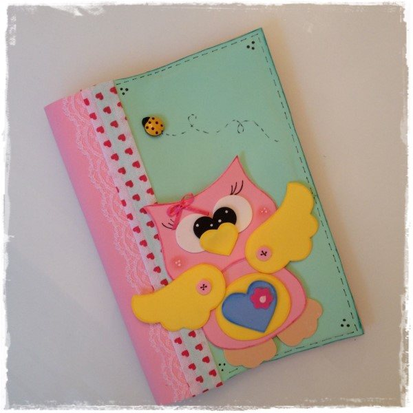 caderno decorado coruja