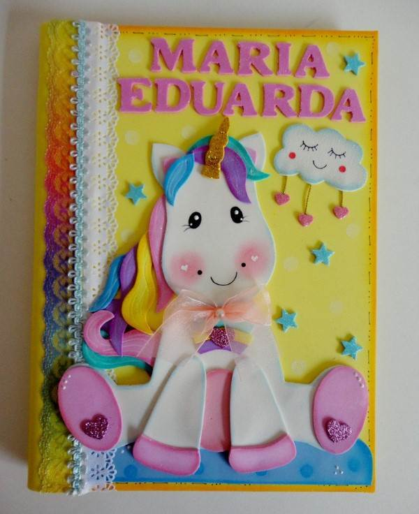 caderno decorado unicornio