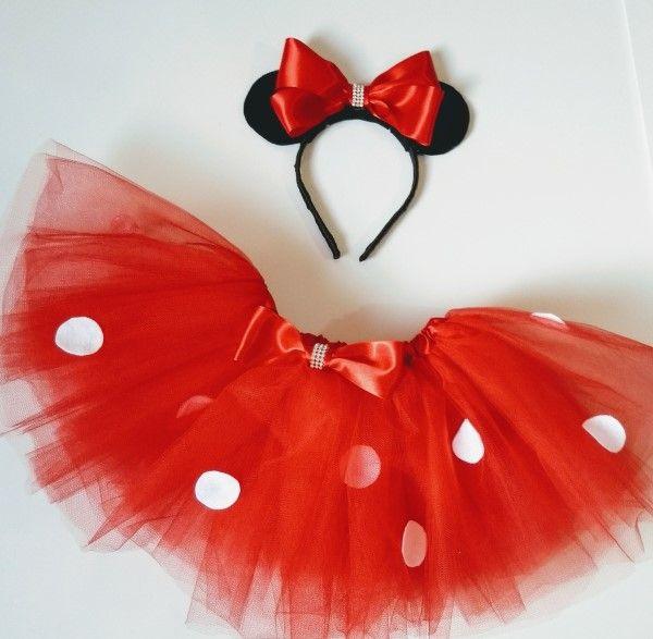2569c73986 Faça você mesmo  Saia em tule vermelha para fantasia Minnie