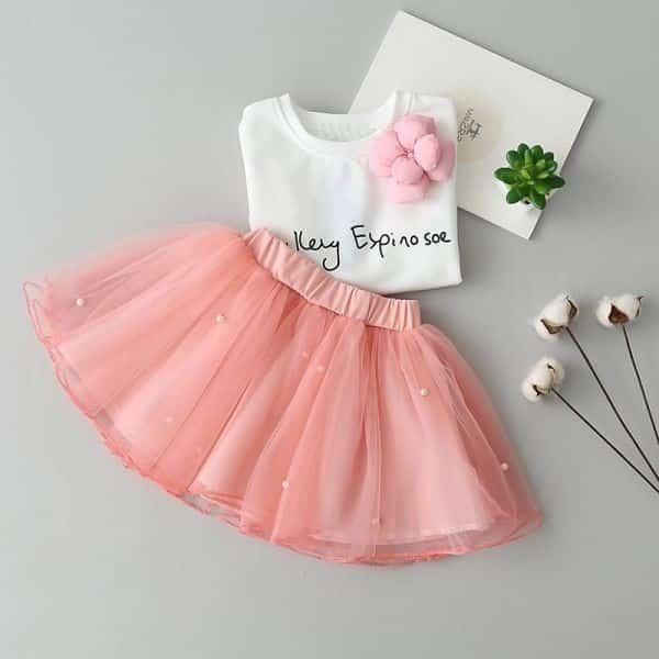 saia de tule rosa com costura