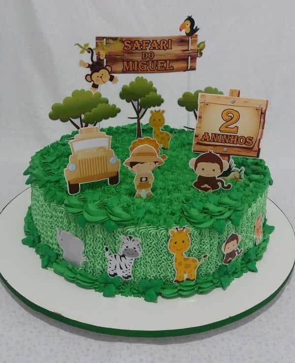 topo de bolo do safari para aniversario