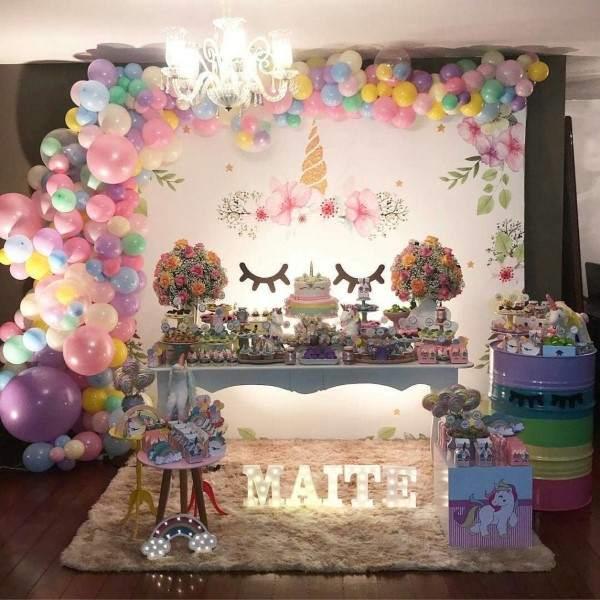 decoração de festa unicornio