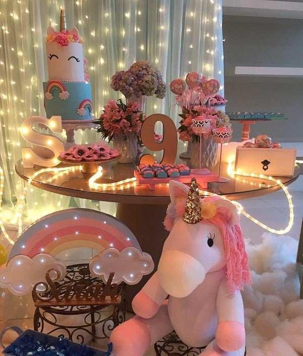festa do pijama tema unicornio