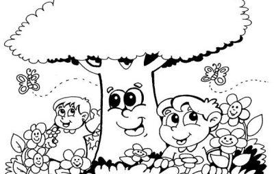 Desenho da primavera para colorir modelo infantil