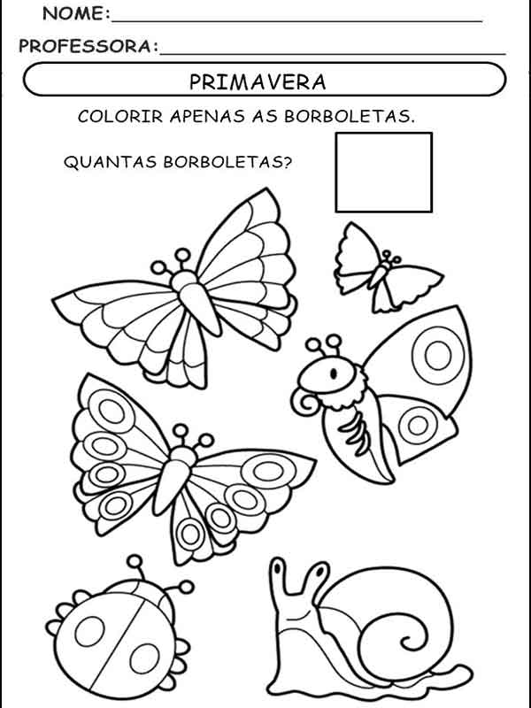 Desenho da primavera para colorir borboletas