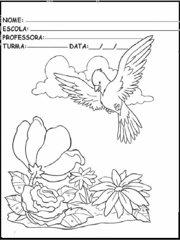 Desenho da primavera para colorir capa beija flor