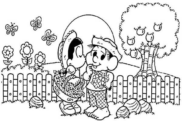 Desenho da primavera para colorir Chico Bento