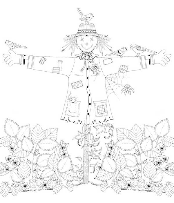 Desenho da primavera para imprimir espantalho plantação