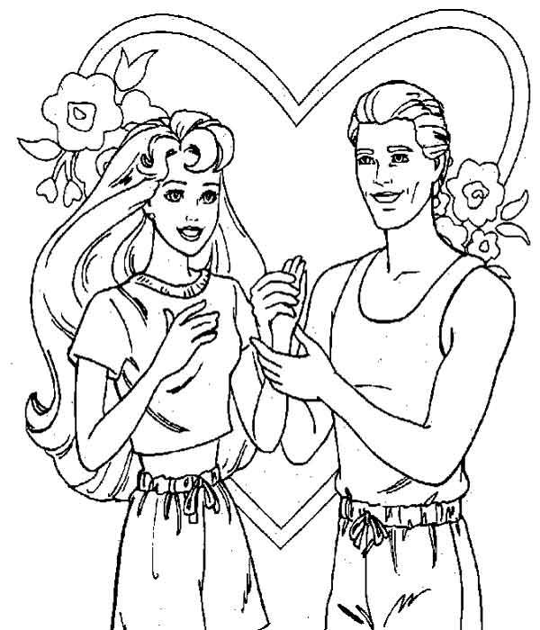 Desenhos para pintar Barbie e Ken