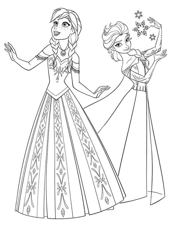 Desenhos para pintar Ana e Elsa