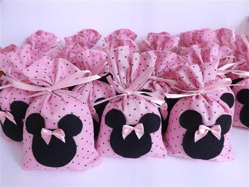 saquinho de tecido minnie rosa