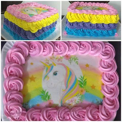 bolo de unicórnio colorido