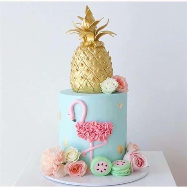 bolo do flamingo com abacaxi