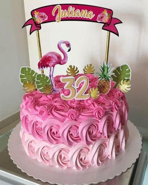 bolo do flamingo