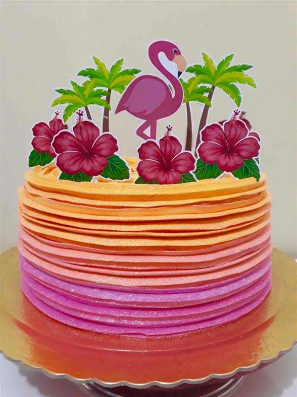bolo flamingo laranja e rosa