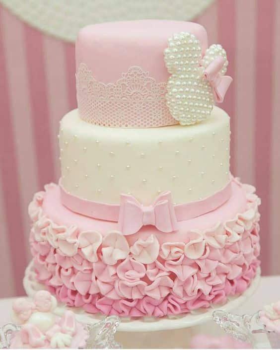 bolo da minnie rosa com pérolas