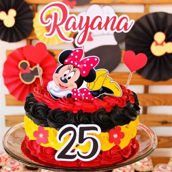 bolo minnie vermelho preto e amarelo