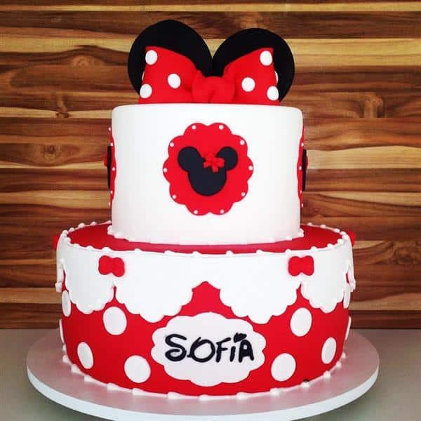 bolo da minnie vermelho e branco